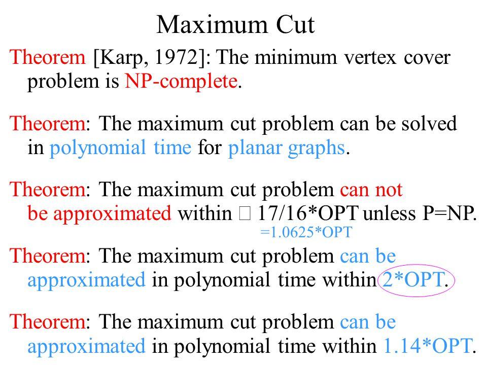 Maximum Cut Theorem [Karp, 1972]: The minimum vertex cover